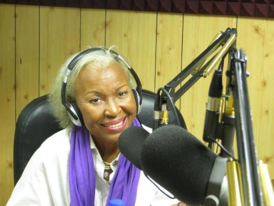 Myrna Hague, Jamaica First Lady of Jazz, is captured in this photo recently at RJR 94 FM studio, where she play guest on the Sunday afternoon show PALAV with Gerry McDaniel. [Photo Credit: Pete McDaniel]